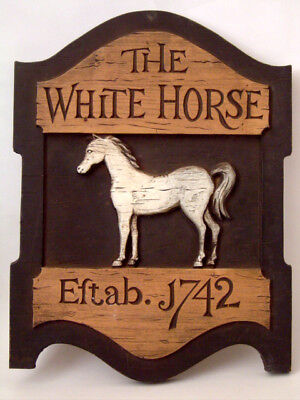Vintage 1950's *white Horse Scotch Whisky* Wooden Bar Advertising Sign