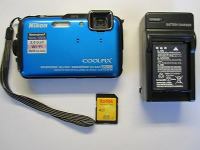 Nikon COOLPIX AW110 16.0MP Digital Camera - Blue Tested Fast Free Shipping