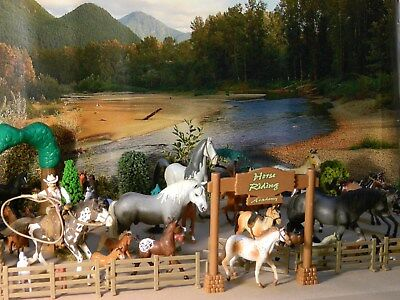 Schleich Horses Appaloosa and others 35 horses fence trees riding
