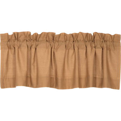 New Primitive Country Farmhouse Kindred Brown Tan Check Valance Window Curtain