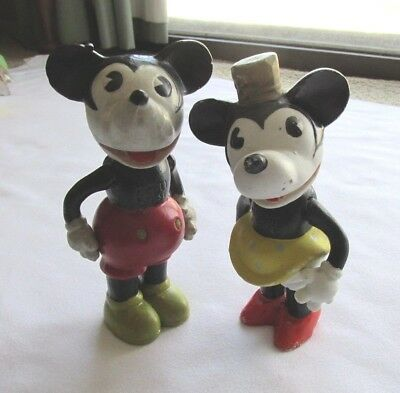 """Vintage Disney Bisque Mickey & Minnie Mouse (Jointed) Figurines 6"""""""