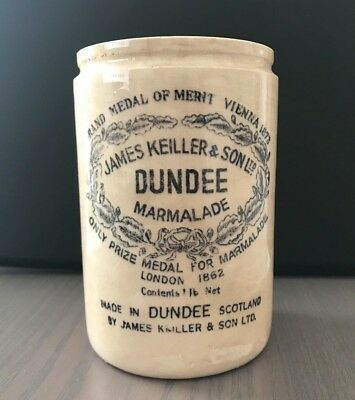 Antique James Keiller & Sons Dundee Marmalade Crock Jar, Scotland London England