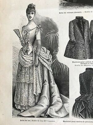 MODE ILLUSTREE SEWING PATTERN Jan 23,1887 -  BALL GOWN, BLOUSE