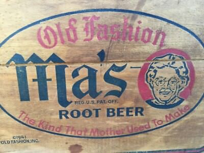 Vintage 1941 Old Fashioned Ma's Root BeerWood Soda Crate Case Box