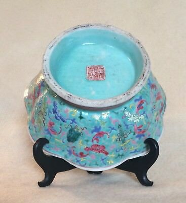 "Antique Chinese Daoguang? Mark Period Blue Bowl Porcelain Famille 7"" China"