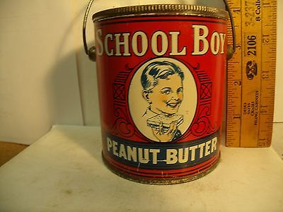 Vintage EARLY RARE SCHOOL BOY BRAND PEANUT BUTTER PAINTED TIN 1lb