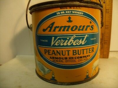 Rare 12 Oz Armour's Veribest Peanut Butter Advertising Tin Excellent Condition