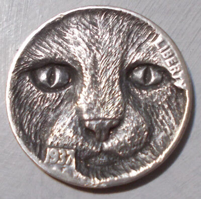 Hobo Nickel, Miniature Metal Carving, Purrrfect