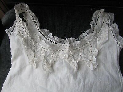 Vntg Turn Of The Century Intricate Lace Edged Edwardian Childrens Slip