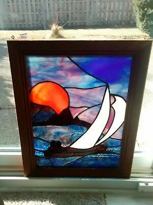 "Vintage Stained Glass Leaded Window Art Deco hanging Boat scene Framed 15"" x 19"""