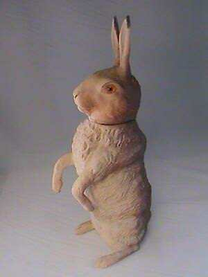Folk Art Large Standing Easter Bunny Rabbit Candy Container 15 Tall Rare L@@K!
