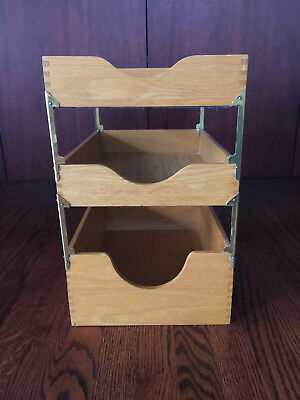 Vintage Oak Wood Desk Tray File Organizer 3 Tier Dove Tailed Excellent
