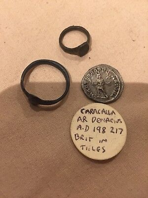 Silver Roman Coin And Two Roman Rings