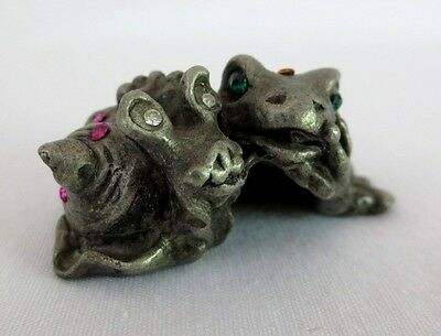Sunglo Pewter Frog & Snail F3991 Denicolo 1996 Studded Multi-colored Stones 1""
