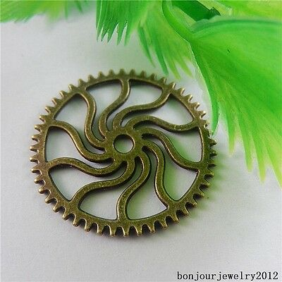 50833 Vintage Bronze Alloy Gear Wheel Shape Pendants Finding Charms Crafts 40pcs