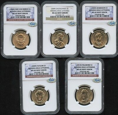 5 Coin Set 2008-2010 NGC MS66 $1 Missing Edge Lettering Mint Error w/ QA Sticker