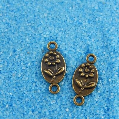 38120 Vintage Bronze Tone Alloy Oval Flower Charm Connector Finding 200pcs