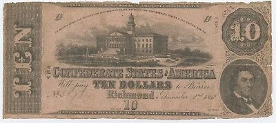 1862 G Series 2 $10 Dollar Confederate States of America Richmond Virginia