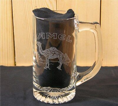 """Camel Promo Etched Glass Beer Mug 5 3/4"""" tall Dated 1993"""