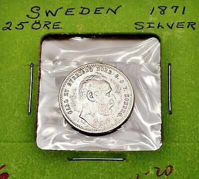 1871 Sweden Silver 25 Ore - Nice Older Coin