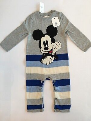 b42d150679de GAP BABY BOY Mickey Mouse One Piece Sweater Crazy Stripe 6 12 18 24 ...
