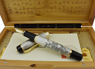 "Jinhao ""Chinese Dragon Offspring"" Fountain Pen Wooden Gift Box 18KGP M Nib"