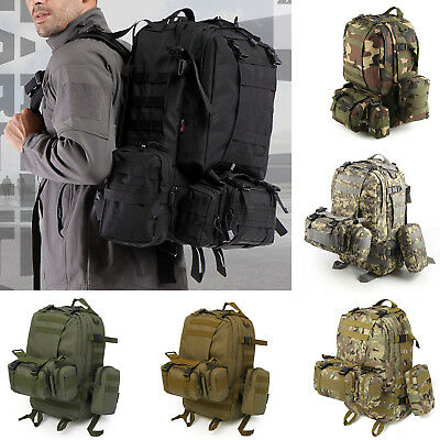 50L Military Tactical Army Rucksacks Molle Backpack Camping Hiking Bag