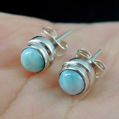 Small Fine LARIMAR & 925 Sterling Silver Stud Earrings Jewellery