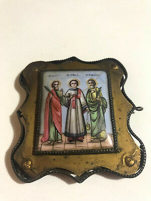19th century Russian icon enamel antique Orthodox Icon Finift Three saints