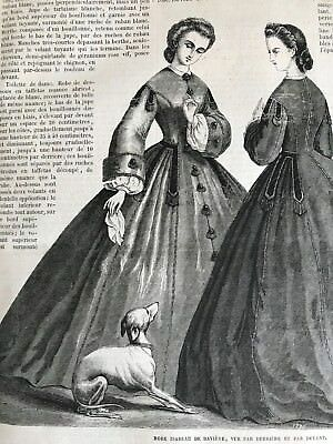 Year 1863 - MODE ILLUSTREE SEWING PATTERN Feb 2,1863 - ROBE ISABEAU DE BAVIERE