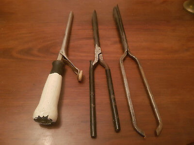 Antique Hair Curling Iron Curler X 3  Collectible