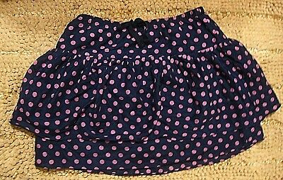 CREWCUTS Factory Tiered Skirt~Navy Blue~Pink Polka Dots~Silk+Cotton~NWT~14~CUTE!