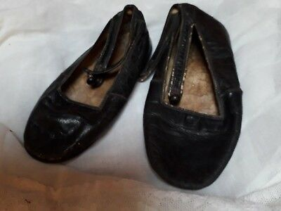 Antique Shoes Victorian Baby Vintage Doll Leather Display Collector Black