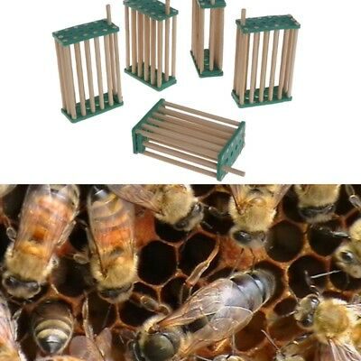 5Pcs 4mm Bee Queen King Cage Beekeeping Bamboo Multifunction Prisoner Hive Tools