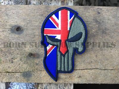 UNION JACK SPARTAN PUNISHER PATCH - British Flag Morale Tactical Airsoft Badge