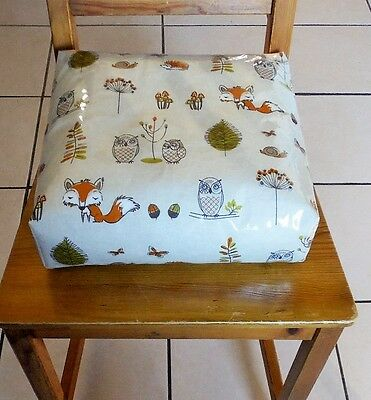 Kids Child Chair Booster Cushion. Zipped Refillable. With Ties. Woodland Fox.