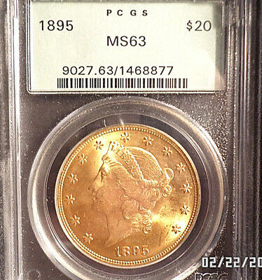 1895 Liberty Head $20 One-Ounce Gold * PCGS MS 63 OGH