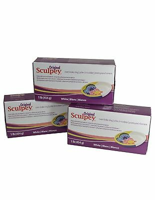 Original Sculpey Sculpturing Compound White Oven-Bake Clay-1 Lb, Pack of 3