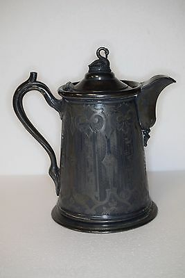 Antique Redfield & Rice New York Silver Plated Lidded Pitcher - Gorgeous Patina