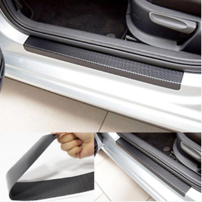 4x 3D Carbon Fiber Look Car Door Plate Sill Scuff Cover Anti-Scratch Sticker