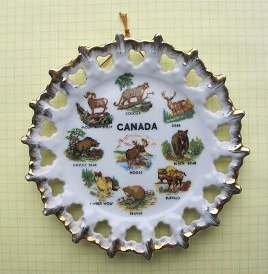 Vintage Collectors Hanging Wall Plate Wild Animals of Canada 6 Inch Gold Trim