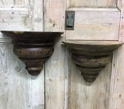 A Pair Of Rustic  Reclaimed Hand Turned Hard Wood Sconce / Candle Holders
