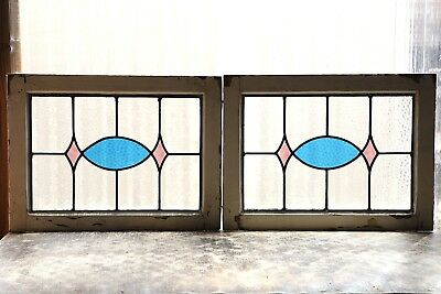 Pair of Antique Stained Glass Windows Two (2) Colors Fantastic Design (3114)