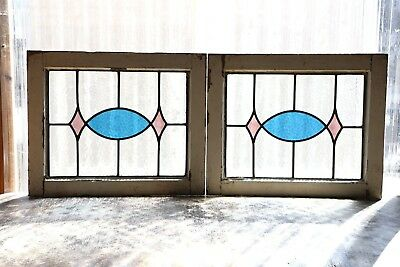 Pair of Antique Stained Glass Windows Two (2) Colors Fantastic Design (3116)
