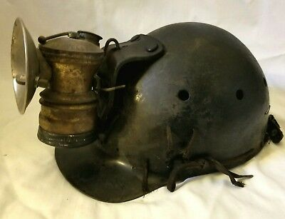 Miners mining carbide lamp and Helmet coal mining antique