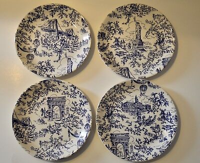 Tiffany New York Toile Plates- Set of 4 - Blue Scene - Discontinued 1994 edition