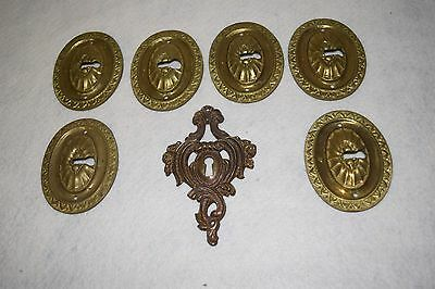 Lot of 7 Vintage Brass Door Keyhole Cover Plates Escutcheon