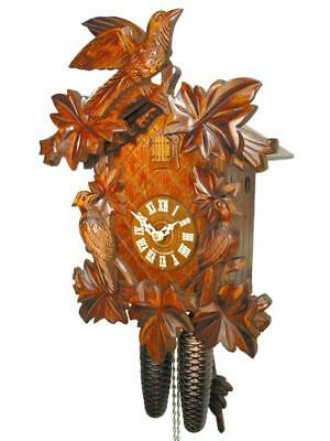 Original German Black Forest Cuckoo Clock 8 Day 3 Birds 7 Leaves Antique Carved