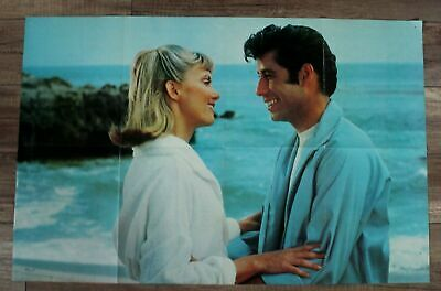 Grease 1978 Olivia Newton John Travolta Magazine Poster FN