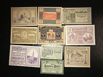 Lot of 10 old Notgeld/Emergency Money year 1920 from Austria